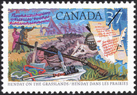 Original title:  Henday on the grasslands = Henday dans les praries [philatelic record].  Philatelic issue data Canada : 37 cents