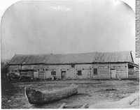 Original title:  Photograph McDermot's store, near Fort Garry, Red River, MB, 1858 Humphrey Lloyd Hime 1858, 19th century Silver salts on paper mounted on paper - Albumen process 13 x 17 cm MP-0000.1453.14 © McCord Museum Keywords:  Architecture (8646) , Photograph (77678) , rural (407)