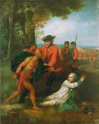 Original title:  William Johnson saving the life of Baron Dieskau at the Battle of Lake George, 1755