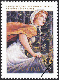 Original title:  Laura Secord, legendary patriot = Laura Secord, héroïne légendaire [philatelic record].  Philatelic issue data Canada : 42 cents