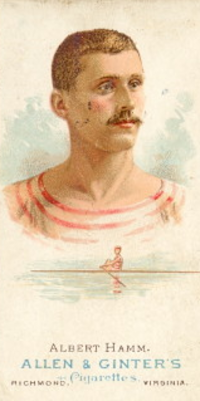 Original title:    Description English: Photo of Albert Hamm, Oarsman (Rower) from an Allen and Ginters card. Date 1887(1887) Source Original publication: 1887 - Allen and Ginter Tobacco Card Immediate source: https://www.gfg.com/baseball/oars.shtml Author Allen and Ginter Tobacco Card