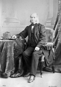 Original title:  Photograph John Lovell, Montreal, QC, 1865 William Notman (1826-1891) 1865, 19th century Silver salts on paper mounted on paper - Albumen process 8 x 5 cm Purchase from Associated Screen News Ltd. I-19133.1 © McCord Museum Keywords:  male (26812) , Photograph (77678) , portrait (53878)