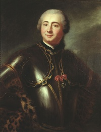 Original title:    Artist Anonymous Title Marquis de Boishébert — Charles Deschamps de Boishébert et de Raffetot (1727–1797) Description The Marquis de Boishébert was born in Quebec and a successful military man. He was made a knight of the Order of Saint Louis in 1758. The painting's cross of that Order was added after the painting was executed by an unknown French artist in Quebec. McCord Museum's examination of the painting under ultra-violet light reveals that area to be overpainted, thus putting the painting's origin before 1758.[1] Date circa 1753(1753) Medium oil on canvas Dimensions 81.7 × 65.5 cm (32.2 × 25.8 in) Current location McCord Museum of Canadian History Quebec, Canada Accession number M967.48 Object history Purchased from Mme Roch Rolland in 1967[1] Source/Photographer This image is available from the McCord Museum under the access number M967.48 This tag does not indicate the c