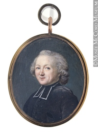 Original title:  Painting, miniature Portrait of l'Abbé Joseph-Marie De La Corne de Chaptes (1714-1779) Anonyme - Anonymous 1750-1800, 18th century 4.7 x 3.9 cm Purchase from Mr. John L. Russell M22335 © McCord Museum Keywords:  male (26812) , Painting (2229) , painting (2226) , portrait (53878)