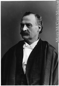 Original title:  Photograph Hon. Judge Michel Mathieu, Montreal, QC, 1895 Wm. Notman & Son 1895, 19th century Silver salts on glass - Gelatin dry plate process 17 x 12 cm Purchase from Associated Screen News Ltd. II-109433 © McCord Museum Keywords:  male (26812) , Photograph (77678) , portrait (53878)