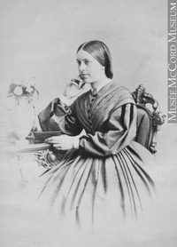 Titre original :  Photograph Miss Jessie Turnbull, QC, 1863 William Notman (1826-1891) 1863, 19th century Silver salts on paper mounted on paper - Albumen process 8.5 x 5.6 cm Purchase from Associated Screen News Ltd. I-8280.1 © McCord Museum Keywords:  female (19035) , Photograph (77678) , portrait (53878)