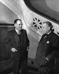 Titre original :    Description English: Claude Champagne (left) and Wilfrid Pelletier at the opening of the Conservatoire de musique et d'art dramatique de Montréal. Français : Claude Champagne (à gauche) et Wilfrid Pelletier (à droite) lors de l'ouverture du Conservatoire de musique de Montréal en 1943 Date 1943(1943) Source This image is available from Library and Archives Canada This tag does not indicate the copyright status of the attached work. A normal copyright tag is still required. See Commons:Licensing for more information. Library and Archives Canada does not allow free use of its copyrighted works. See Category:Images from Library and Archives Canada. Author Unknown Permission (Reusing this file) Public domainPublic domainfalsefalse This work is in the public domain in the United States because it was first published outside the United States (and not published in the U.S. within 30 d