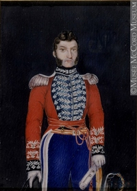 Titre original :  Painting, miniature Col. Michel Louis Juchereau Duchesnay, about 1808 Cromwell About 1808, 19th century 12 x 8.6 cm Gift of Miss L.H.Campbell M985.138.3 © McCord Museum Keywords:  male (26812) , Painting (2229) , painting (2226) , portrait (53878)