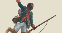 Original title:  'An illustration of Black Loyalist Richard Pierpoint (artwork by Malcolm Jones, courtesy Canadian War Museum/1.E.2.4-CGR2).'