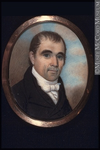 Original title:  Painting, miniature Portrait of the Honorable Robert Thorpe (about 1764-1836) Anonyme - Anonymous 1800-1850, 19th century Watercolour, gouache and arabic gum on ivory 6 x 4.7 cm M22349 © McCord Museum Keywords:  male (26812) , Painting (2229) , painting (2226) , portrait (53878)