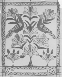 Original title:  Two Birds in Flowered Tree, by Anna Weber Source: Anna's art : the fraktur art of Anna Weber, a Waterloo County Mennonite artist, 1814-1888 E. Reginald Good. -- Kitchener : Pochauna Publications, [1976]. -- 48 p. : ill. (some col.) ; 26 cm. -- ISBN 0969063008. -- P. 26 © Public Domain nlc-4385