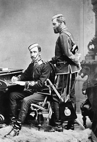 Original title:  Colonel James Farquharson Macleod and Captain Edmund Dalrymple Clark of the Royal North-west Mounted Police in the late-1870s.