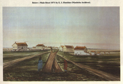 Original title:  Main Street 1871 by E.J. Hutchins (1970) | by Manitoba Historical Maps
