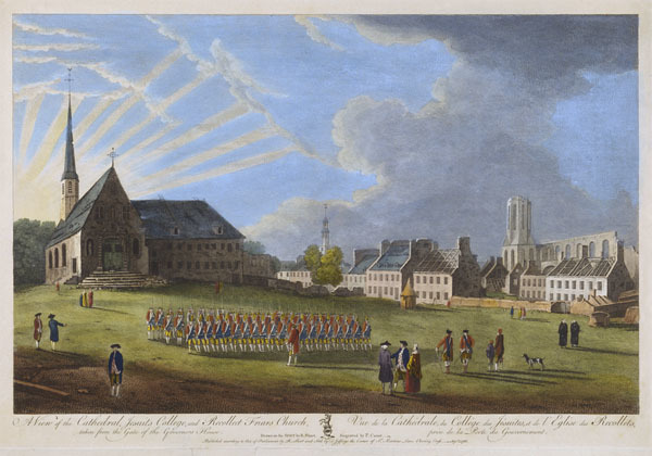 Titre original :  MIKAN 2877424 MIKAN 2877424: A View of the Cathedral, Jesuits College, and Recollet Friars Church. Vue de la Cathédrale, du Collège des Jésuites, et de l'Eglise des Recollets,. September 1, 1761. (with inscription) [96 KB, 600 X 420]
