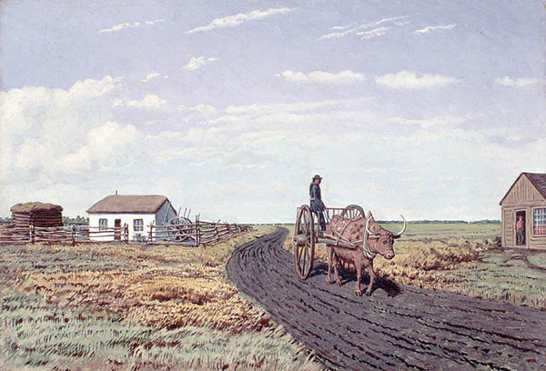 "Titre original :  MIKAN 2835753 MIKAN 2835753: ""Manitobah"" Settler's House and Red River Cart. ca. 1862 [70 KB, 640 X 435]"