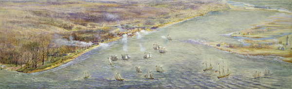 Titre original :  Bird's-eye view looking northeast from approximately foot of Parkside Drive, showing arrival of American fleet prior to capture of York, 27 April 1813. : Toronto Public Library