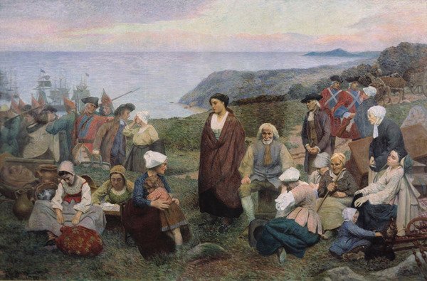 Titre original :    Description Français : La Déportation des Acadiens, par Henri Beau (1863-1949). English: The Deportation of the Acadians, by Henri Beau (1863-1949). Date 1900 Source http://www.ameriquefrancaise.org/fr/article-683/Le_camp_d%E2%80%99Esp%C3%A9rance,_les_r%C3%A9fugi%C3%A9s_acadiens_de_la_Miramichi,_1756-1761.html#.UPIovHcTSSo Author Henri Beau