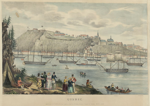 Original title:  MIKAN 3020669 : Quebec with the Arrival of HMS hastings conveying the Earl of Durham, Governor General of Canada, May 1838.